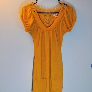 Energie Golden Embroidered Yellow Top